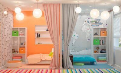 Идеи дизайна детской комнаты для двоих